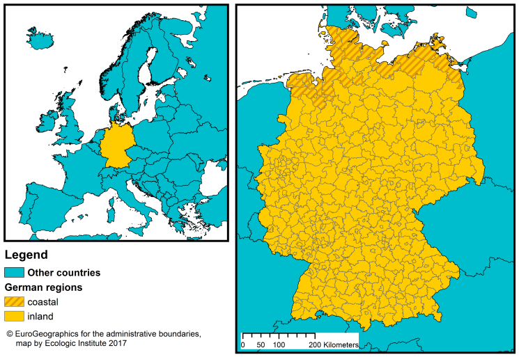 Germany Coastal Management Webguide RISC KIT - Germany nuts 3 map
